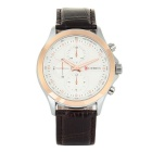 CURREN Men's Casual 3 Decorative Sub-dials Leather Strap Waterproof Quartz Analog Watch - Rose Gold