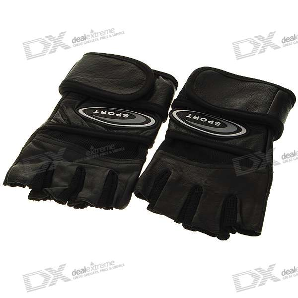 Half-Fingered Leather Gloves with Wrist Protectors - Black (XL-Size/Pair)