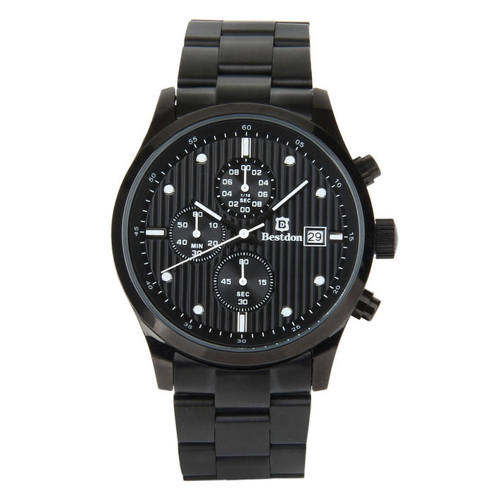 Bestdon Men's Stainless Steel Band Waterproof Quartz Watch - Black