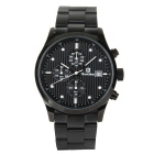 Bestdon Men's Stainless Steel Band 3 Sub-dials Waterproof Luminous Dial Quartz Watch - Black