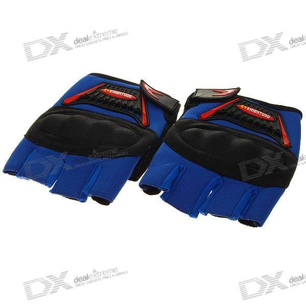 Half-Fingered Gloves with Protective Pads - Blue + Black (XL-Size/Pair)