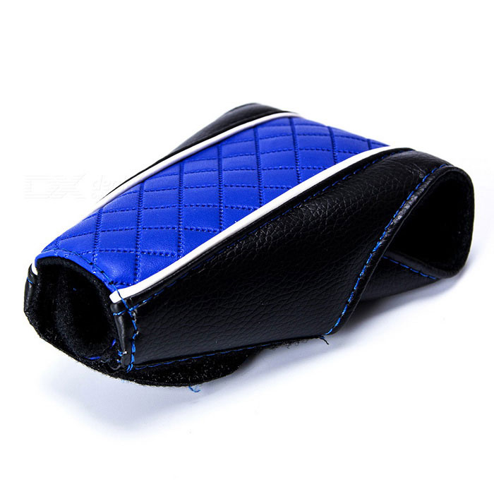 Auto Car Luxury PU Leather Gear Shift Knob Shifter Cover Sleeve Pad Case - Black + Blue