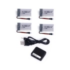 3.7V 600mAh Lipo Battery + 1-to-4 Charger для Syma X5C-1 - Серебряный