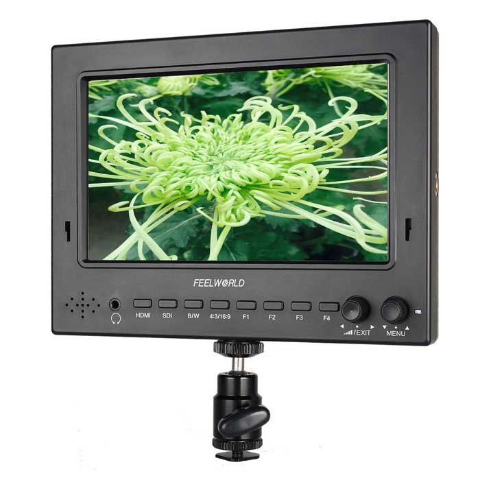 7 IPS 3G-SDI HDMI Camera-Top Field Monitor w/ Peaking ST702-HSD BlackOther Accessories<br>Form ColorBlackModelST702-HSDMaterialEnvironmental plasticQuantity1 DX.PCM.Model.AttributeModel.UnitCompatible BrandUniversalCompatible ModelUniversalOther FeaturesDescription: 7 Pro-Broadcast HD Monitor<br>Model: ST-702HSD<br>Screen Size: 7<br>Panel Type: TFT LCD<br>/ IPS LCD<br>Resolution: 1024 x 600 pixels<br>Dot pitch: 0.05(W) x 0.15 (H)<br>Aspect ratio: 16:9<br>Brightness: 450cd/m?/600cd/m?<br>Contrast: 700:1 / 800:1<br>Viewing Angle:<br>75°/75°(L/R) 70°/75°(U/D)<br>85°/85°(L/R) 85°/85°(U/D)<br>Backlight: LED  <br>SDI Support Format: 480i/576i<br>720p(60/59.94/50/30/29/25/24/23.98)<br>1080i(60/59.94/50)<br>1080p(60/59.94/50/30/29.97/25/24/24fps/23.98/23.98fps)<br>HDMI Support Format:<br>480i/480p/576i/576p<br>720p(60/59.94/50/30/29/25/24/23.98)<br>1080i(60/59.94/50)<br>1080p(60/59.94/50/30/29.97/25/24/24fps/23.98/23.98fps)<br>Input:1 x SDI  1 x HDMI<br>Output:1 x SDI , 1 x HDMI<br>Audio:1 x Speaker<br>1 x Ear Phone Slot<br>Power: Power Consumption<br>Packing List1 x Monitor1 x Plastic Sun Shade1 x F970 Battery Plate1 x Hot Shoe Mount1 x HDMI to mini HDMI cable (100cm) 1 x English user manual<br>