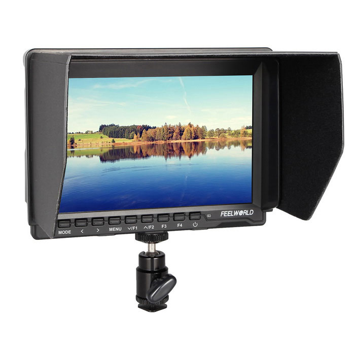FEELWORLD 7 IPS HDMI On-Camera Field Monitor w/ Peaking Focus - BlackOther Accessories<br>Form ColorBlackModelFW-759MaterialEnvironmental plasticQuantity1 DX.PCM.Model.AttributeModel.UnitCompatible BrandUniversalCompatible ModelUniversalOther FeaturesModel: FW-759<br>Resolution: 1280x800 pixels<br>Dot pitch: 0.11775(H)x0.11775(V)<br>Aspect ratio: 16:10<br>Brightness: 400cd/m?<br>Contrast: 800:1<br>Viewing Angle: 89°/89°(L/R) 89°/89°(U/D)<br>Backlight: LED  <br>Support Formats: HDMI Support Mode<br>480i/480p/576i/576p 720p(60/59.94/50/30/29/25/24/23.98 1080i(60/59.94/50<br>1080p(60/59.94/50/30/29.97/25/24/24fps/23.98/23.98fps)<br>Input: 1 x HDMI, 1 x Video, 1 x Audio,1 x Output<br>OSD Controller:<br>1 x Audio<br>1 x Speaker<br>1 x Ear Phone Slot<br>1 x Power<br>Power Consumption: 5W<br>Input Voltage: 5.5V~35V<br>Environment<br>Working Temperature:- 20°C-50°C<br>Storage Temperature: -30°C-60°C<br>Install Way: 1/4-20 Thread Socket (1 bottom side)Packing List1 x Monitor1 x Sunshade1 x F970 Plate1 x Hot Shoe Mount1 x HDMI to mini HDMI cable (100cm) 1 x HDMI plug lock1 x English user manual<br>