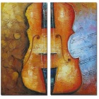 Bizhen Frame-free Musical Instruments Violin Painting Canvas Wall Decor Murals (2 Panels)