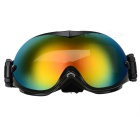 Fashionable TPU Frame PC Lens UV400 Protection Sport Skiing Goggles - Black + Red + Multi-Color