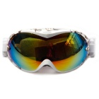 Fashionable TPU Frame PC Lens UV400 Protection Sport Skiing Goggles - White + Coffee + Multi-Color