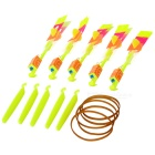 LED Light-up Rubber Slingshot Helicopter Toys for Kids - Yellow (5PCS)