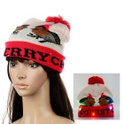 Christmas Gift Fashion Unisex Glowing Woolen Yarn Woven Hat w/ LED Light - White + Red