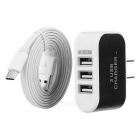 Universal 3-Port US Plug Adapter + USB 3.1 Type-C to USB 2.0 Flat Charging Cable - Black + White