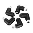 90-Degree Angled DC 5.5 x 2.1 Male to Mini USB 5-Pin Male Charging Adapter - Black + Silver (5 PCS)