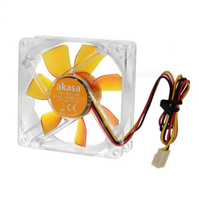 Akasa-8cm 1800RPM Quiet Computer Cooling Fan - Transparent + YellowCooling Gears<br>Form  ColorTransparent + YellowModelAK-182-L2BMaterialABSQuantity1 DX.PCM.Model.AttributeModel.UnitPowered ByOthers,3pinNumber of Fans7RPM1800 RPMFan Diameter8 DX.PCM.Model.AttributeModel.UnitOther FeaturesApplication: PC case or heatsink fan; Dimension: 80 x 80 x 25mm; Fan speed 1800 RPM; Airflow 25.4 CFM (43.1 m3/h)<br>Fan air pressure: 1.1mm H20; Noise level 20.0 dB(A); Current rating: 0.07A; Voltage rating: 12V DC; Bearing type: Twin Ball<br>Fan life expectancy: 80,000 hours; Connector: 3pinPacking List1 x Fan (31+/-2cm)4 x Screws1 x Connecting cable (30+/-2cm)<br>