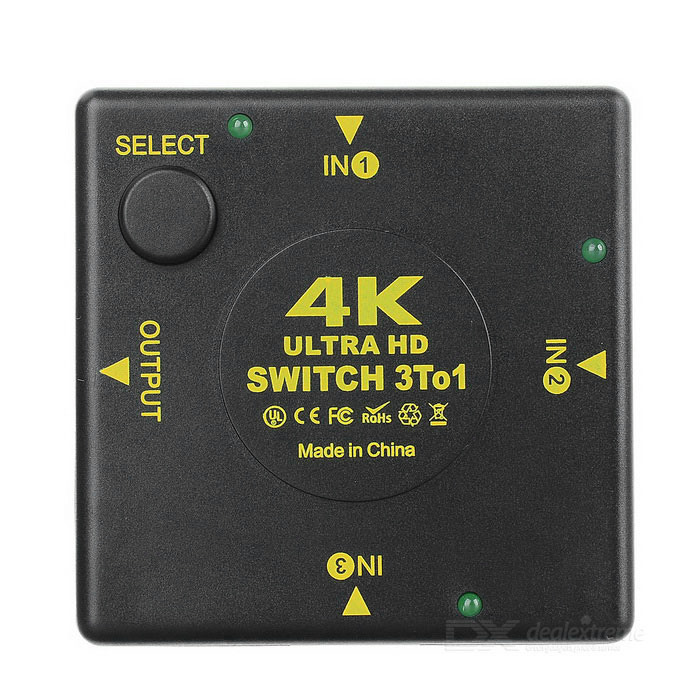 3-in 1-out 4K HDMI 1.4 switcher w / interruptor / luz indicadora - preto