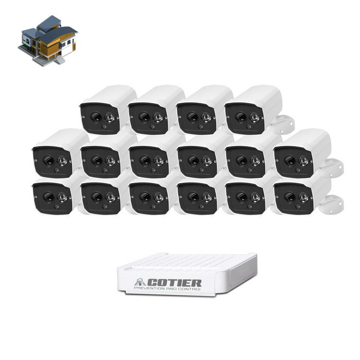Cotier 16-CH NVR kit 1.3MP ulkona 960P IP-kamera IR 20m - white