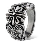 Xinguang Men's Fashion Cross Flower Style Finger Ring - Silver (US Size 9)