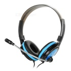3.5mm Wired Stereo Headband Headphone w/ Microphone, Remote, 1.75m Cable - Black + Blue