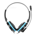3.5mm Wired Stereo Headband Headphone w/ Mic, Remote - Black + Blue