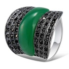 Xinguang Men's Retro Luxury Crystal Ring - Green + Silver (US Size 9)