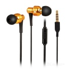 SENICC In-Ear 3.5mm Wired Bass Earphone w/ Mic, Flat Cable - Gold + Black