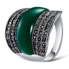 Xinguang Men's Fashion Cat's Eye Style Crystal Ring - Silver + Green (US Size 9)