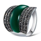 Xinguang Men's Fashion Cat's Eye Style Crystal Ring - Silver + Green (US Size 12)