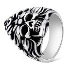 Xinguang Men's Cool Flame Skull Style Finger Ring - Antique Silver + Black (US Size 9)