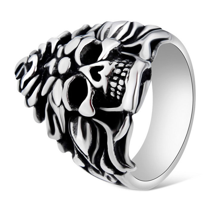 Xinguang Men's Cool Skull Style Ring - Antique Silver + Black (US 10)