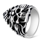 Xinguang Men's Cool Flame Skull Style Finger Ring - Antique Silver + Black (US Size 10)
