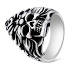 Xinguang Men's Cool Flame Skull Style Finger Ring - Antique Silver + Black (US Size 11)