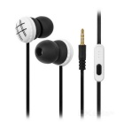 KEEKA 2-CH In-Ear Music Earphone w/ 3.5mm - Black + White (120cm)