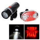 3-Mode 5-LED blanco bicicleta neutral + 4-Mode 9-LED luz roja cola - negro