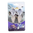 Diamond Shaped Bike Tyre Tire Valve Dust Cap Cover - White (2PCS)