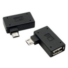 CY U2-241-LE/U2-241-RI 90 Degree Left & Right Angled Micro USB 2.0 OTG Host Adapter w/ USB - Black