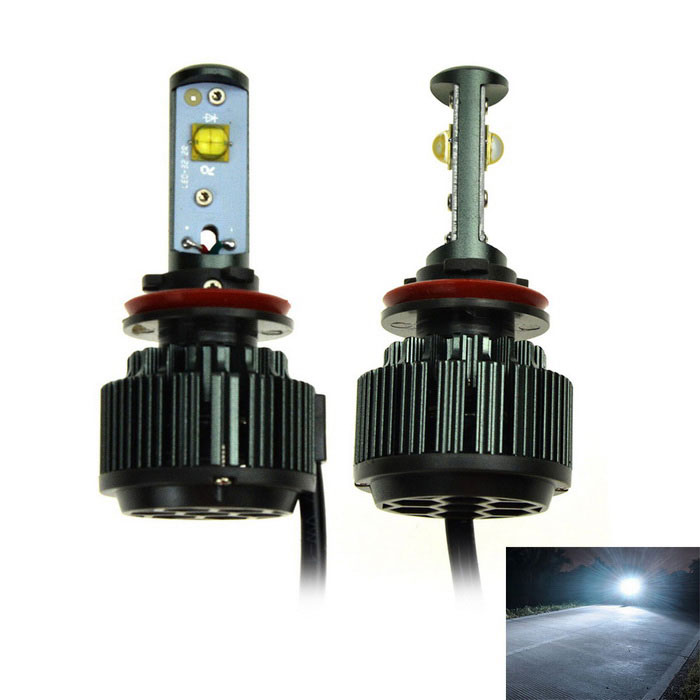 Duplex H11 V16 30W LED White Light Car Headlamp w / Decoder (2PCS)Fog Lights<br>Color Temperature6000K - H11ModelH11Quantity1 DX.PCM.Model.AttributeModel.UnitMaterialAluminum alloyForm  ColorBlackCompatible Car ModelH11Rate VoltageDC 8-48VPower30WColor BINWhiteActual Lumens3000 DX.PCM.Model.AttributeModel.UnitConnector TypeOthers,H11Emitter TypeLEDChip BrandOthers,N/AChip TypeN/ATotal Emitters2Color Temperature6000 DX.PCM.Model.AttributeModel.UnitWaterproof FunctionYesApplicationHeadlamp,FoglightPacking List2 x Led lights (cable length: 12.5cm)2 x Inverters / drivers (cable length: 9cm)<br>