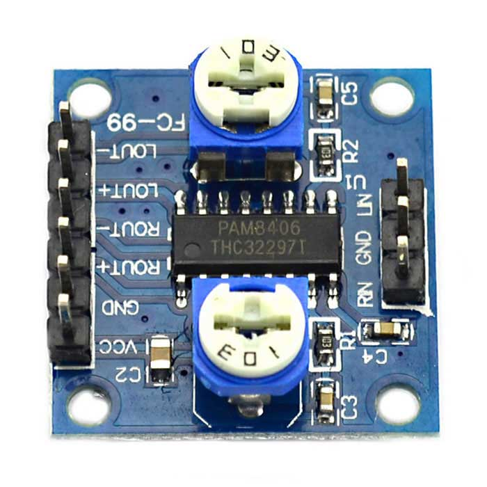Jtron PAM8406 Digital Amplifier Board with Volume Potentiometer / 5W x 2 Stereo Noise - Blue