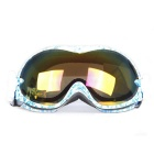 Fashionable TPU Frame PC Lens UV400 Protection Anti-Fog Sport Skiing Goggles - White + Blue