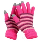 Fashion Thickened Wool Warm Keeping Touch Screen Full Finger Gloves - Deep Pink + Grey (Pair)