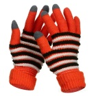 Fashion Thickened Wool Warm Keeping Touch Screen Full Finger Gloves - Orange + Black (Pair)
