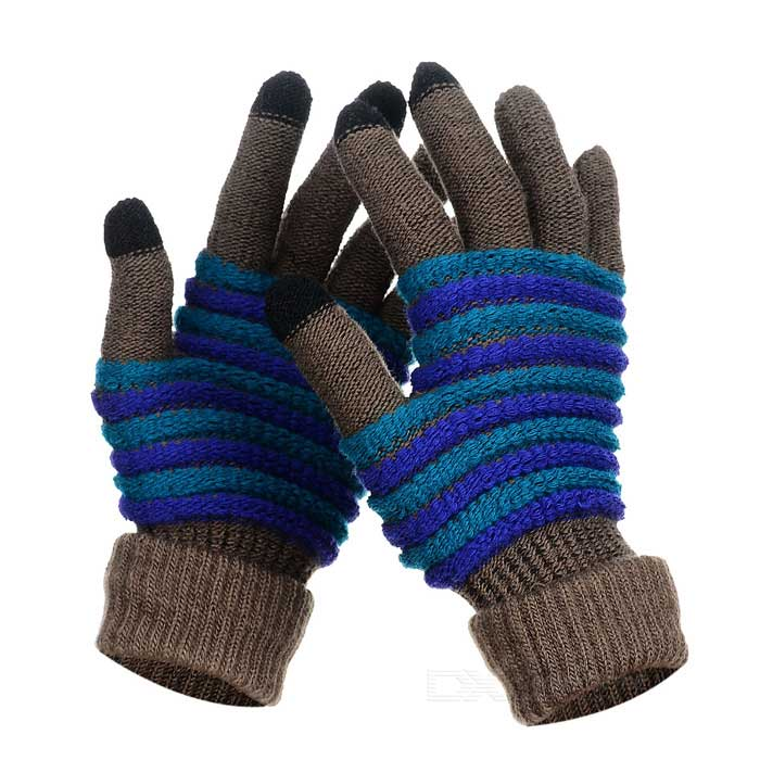 Wool Warm Touch Screen Full Finger Gloves - Brown + Blue (Pair)