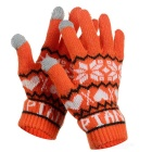 Gants en forme de flocon de neige chaud gant complet - orange + blanc (paire)