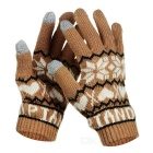 Fashion Snowflake Pattern Wool Warm Keeping Touch Screen Full Finger Gloves - Coffee + White (Pair)