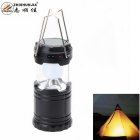 ZHISHUNJIA G-85 Solar Powered Rechargeable White 210lm 6-5630 LED Camping Lantern Light - Black