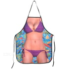 Sexy Bikini Girls Pattern Polyester Apron - Black + Dark Brown + Multicolor