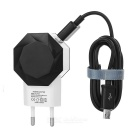 Polygonal Dual USB EU Plug Travel Charger + Micro USB Charging Data Cable - Black + White