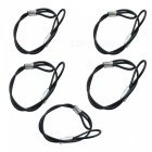 Safety Steel Wire Lanyard for GoPro / Xiaomi Xiaoyi / SJ4000 Sports Cameras - Black + Silver (5PCS)