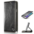 Caseme Magnetic Latch PU Leather Flip-Open Case w/Card Slot for Samsung Galaxy Note 5 - Black