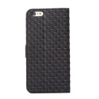 MO.MAT Gird Pattern Wallet Case w/ Card Slot for IPHONE 6 PLUS - Black