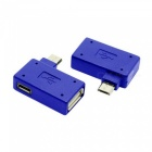 CY Left & Right Angled Micro USB OTG Flash Disk Adapter - Blue (2PCS)