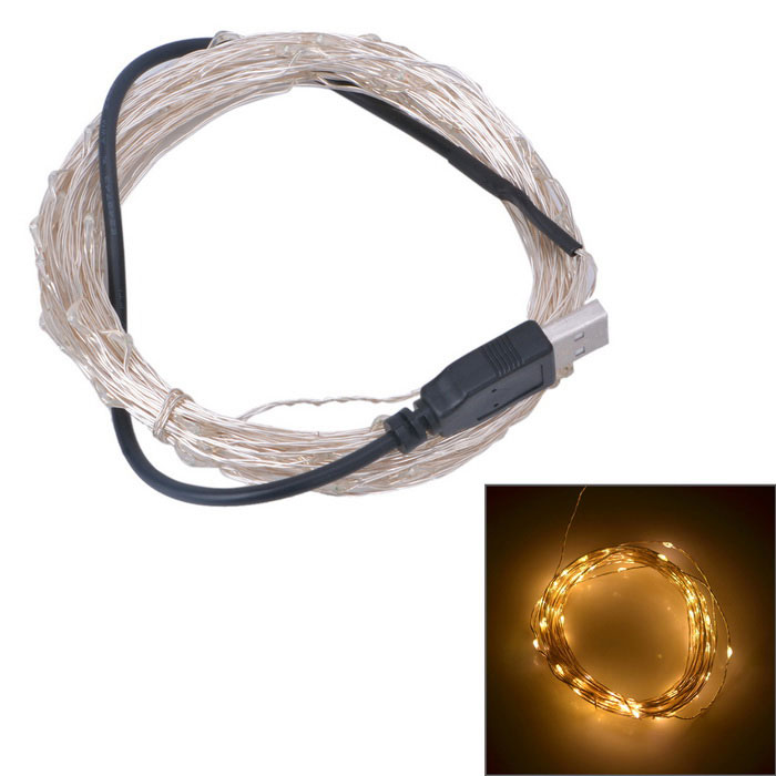 USB Powered 3W 50-SMD LED Warm White Light Strip - Silver + Black (5m)LED String<br>Form ColorBlack + SilverColor BINWarm WhiteMaterialCopper wire + plasticQuantity1 DX.PCM.Model.AttributeModel.UnitPower3WRated VoltageOthers,DC 5 DX.PCM.Model.AttributeModel.UnitChip BrandEpistarEmitter TypeOthers,0603 SMD LEDTotal Emitters50Color Temperature3000KWavelengthN/AActual Lumens250 DX.PCM.Model.AttributeModel.UnitPower AdapterUSBPacking List1 x Light strip (5 meters)<br>